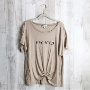 [Wildfox] Engaged Tan Scoop Neck Graphic T-Shirt